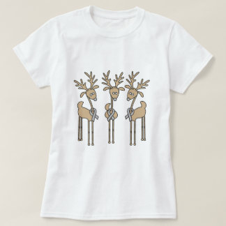 Grey Ribbon Reindeer (Diabetes) T-Shirt