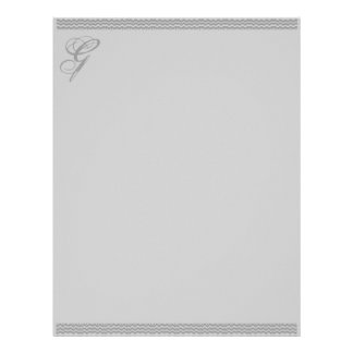 Grey Ripple with fancy initial Letterhead Paper