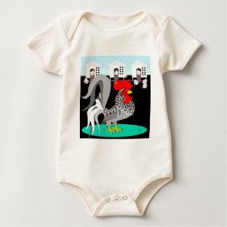 Grey rooster & hens baby bodysuit