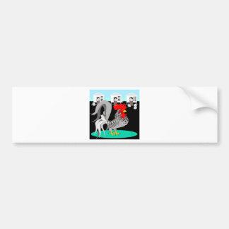 Grey rooster & hens bumper sticker