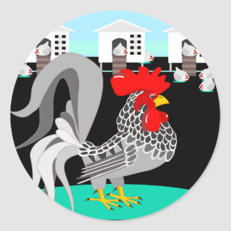 Grey rooster & hens classic round sticker