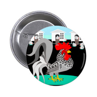Grey rooster & hens pinback button