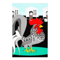 Grey rooster & hens stationery