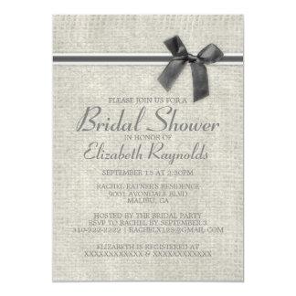 Grey Rustic Burlap Bridal Shower Invitations Personalized Invite