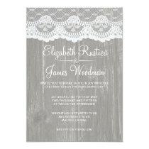 Grey Rustic Lace & Barn Wood Wedding Invitations