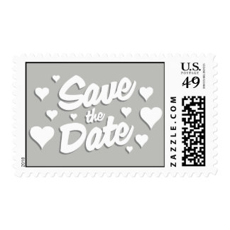 Grey Save the Date Hearts Postage Stamps