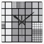 Grey scale abstract wallclock