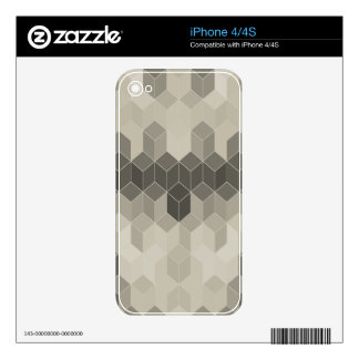 Grey Scale Cube Geometric Design Skin For iPhone 4