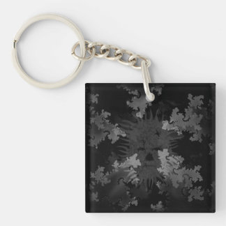 Grey Scale Spirit in Fractals Double-Sided Square Acrylic Keychain