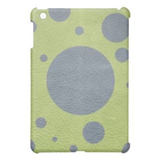 Grey Scattered Spots on Lime GreenLeather iPad Mini Covers