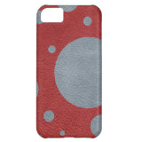 Grey Scattered Spots on Red Leather Texture Cover For iPhone 5C (<em>$40.65</em>)