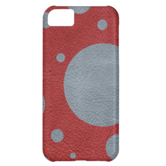 Grey Scattered Spots on Red Leather Texture Cover For iPhone 5C