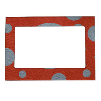 Grey Scattered Spots on Red Leather Texture Magnetic Photo Frame
