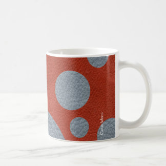 Grey Scattered Spots on Red Leather Texture Classic White Coffee Mug