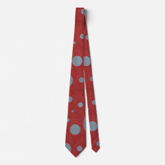Grey Scattered Spots on Red Leather Texture Tie