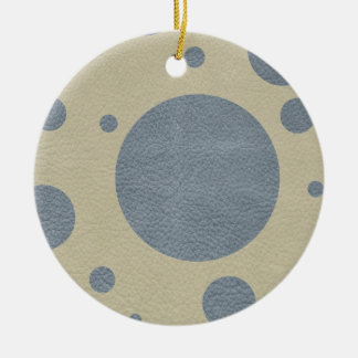 Grey Scattered Spots on Stone Leather print Ceramic Ornament