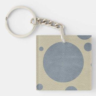 Grey Scattered Spots on Stone Leather print Keychain