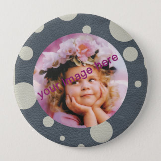 Grey Scattered Spots on Stone Leather print Pinback Button