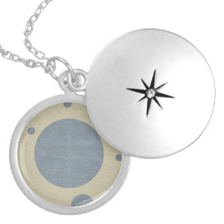 Grey Scattered Spots on Stone Leather print Silver Plated Necklace