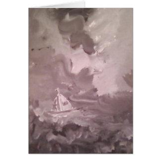 GREY SEA BOAT GREETING CARD by R Carosin Greeting Card
