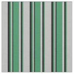 [ Thumbnail: Grey, Sea Green & Black Colored Stripes Fabric ]
