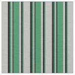 [ Thumbnail: Grey, Sea Green & Black Colored Stripes Fabric ]