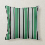 [ Thumbnail: Grey, Sea Green & Black Colored Stripes Pillow ]