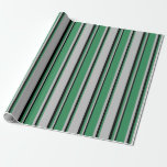 [ Thumbnail: Grey, Sea Green & Black Colored Stripes Wrapping Paper ]