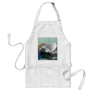 Grey Seal Looking Up Adult Apron