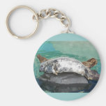 Grey Seal Pair On Rock Full Body Basic Round Button Keychain