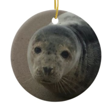 Beach Themed Grey seal pup baby cutesy ornament. ceramic ornament