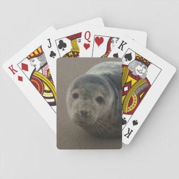 Beach Themed Grey seal pup cute playing cards