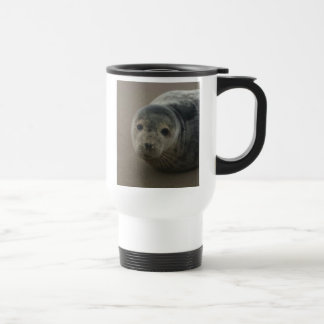Grey seal pup cute wildlife baby travel mug