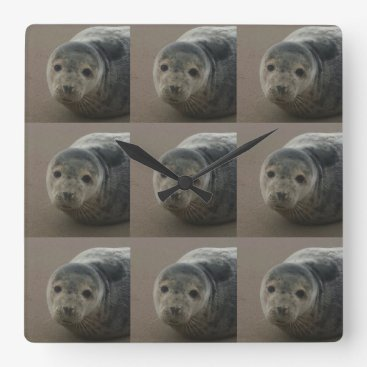 Beach Themed Grey seal pup on the beach. Cute baby Square clock