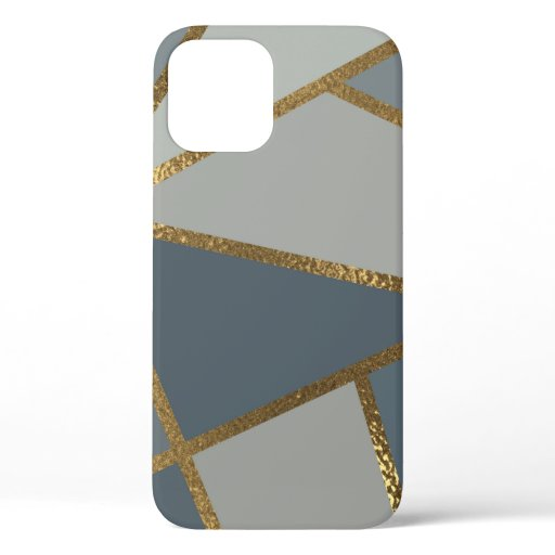 Grey Shades Neutral Gold Bronze Geometric iPhone 12 Case