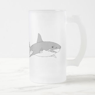 Grey shark frosted glass beer mug