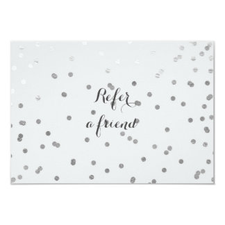 Grey & Shiny Silver Modern Dots Referral Card