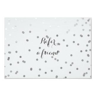 Grey & Shiny Silver Modern Dots Referral Card