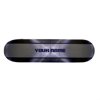 Grey Shiny Stainless Steel Metal 3 Skateboard Deck