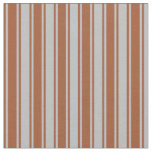 [ Thumbnail: Grey & Sienna Colored Stripes Fabric ]