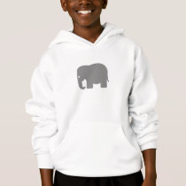Grey Silhouette Elephant Hoodie