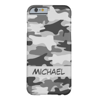 Grey Silver Camo Camouflage Personalized Name Barely There iPhone 6 Case