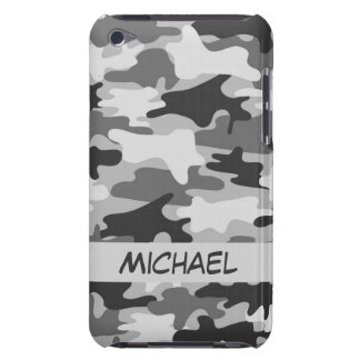 Grey Silver Camo Camouflage Personalized Name Barely There iPod Covers