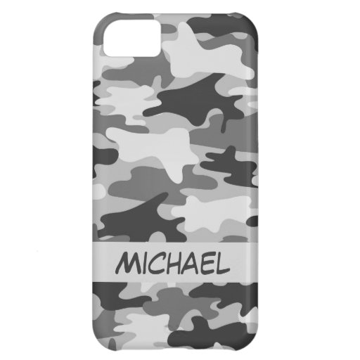 Grey Silver Camo Camouflage Personalized Name Cover For iPhone 5C