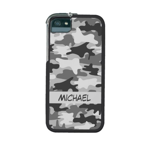 Grey Silver Camo Camouflage Personalized Name iPhone 5/5S Case