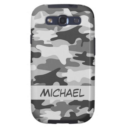 Grey Silver Camo Camouflage Personalized Name Samsung Galaxy S3 Cover