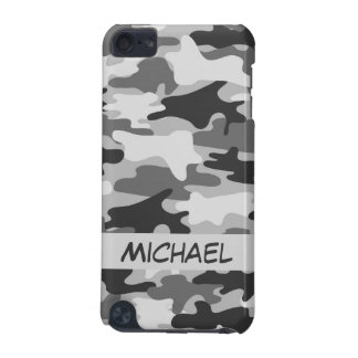 Grey Silver Camo Camouflage Personalized Name iPod Touch 5G Cover