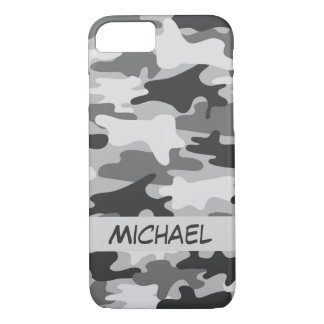 Grey Silver Camo Camouflage Personalized Name iPhone 7 Case