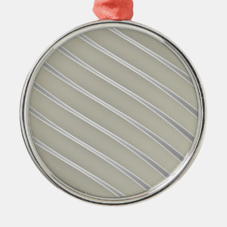 Grey Silver Curved Lines Chic abstract flow Metal Ornament