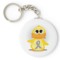 Grey/Silver Ribbon Duck Keychain